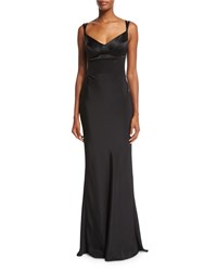 Narciso Rodriguez Sweetheart Neck Silk Gown W Harness Straps Black Size 42 It 8 Us