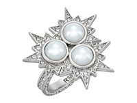 Rebecca Minkoff Rock N Roll Statement Ring Silver Crystal Pearl Ring
