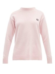 Loewe Anagram Embroidered Wool Sweater Pink