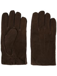 Orciani Exposed Seam Gloves Brown
