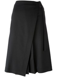 Jil Sander Navy Midi Wrap Skirt Black