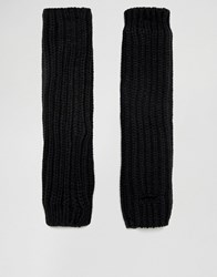 Asos Fingerless Gloves With Arm Cuffs In Black Black