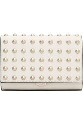 Michael Kors Studded Leather Clutch Ivory