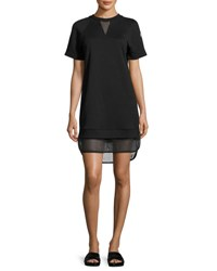 Moncler Short Sleeve Mesh Hem Dress Black