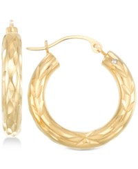Signature Gold Diamond Cut Small Hoop Earrings In 14K Over Resin Gold