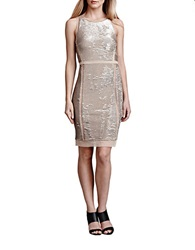Julia Jordan Metallic Sequin Sheath Dress Gold