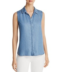 Nydj Petites Button Back Vara Chambray Tank Loire Valley