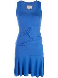 Nicole Miller Ruched Detail Sweater Dress Blue