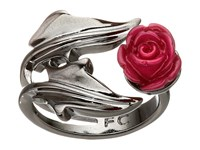 French Connection Ivy Leaf Rose Ring Hematite Burgundy Ring Silver