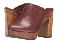Frye Emily Clog Redwood Smooth Vintage Leather Women's Clog Shoes Burgundy