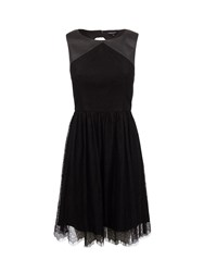 Morgan Lace And Leather Look Dress Black