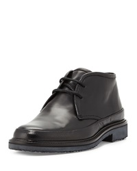 Trivero Leather Chukka Boot Black Ermenegildo Zegna