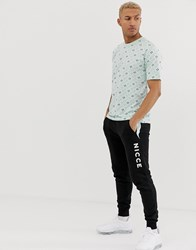 Nicce London T Shirt With All Over Logo In Mint Green