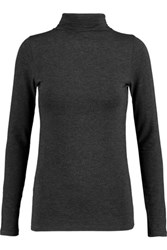 Majestic Stretch Jersey Turleneck Sweater Anthracite