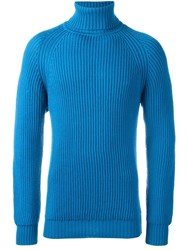Lc23 Cable Knit Turtleneck Jumper Blue