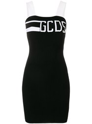 Gcds Logo Ribbed Fitted Dress Black