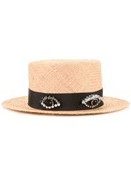 Muveil Embellished Band Boater Hat Women Raffia One Size Brown