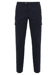 Thom Sweeney Patch Pocket Stretch Linen Blend Trousers Navy