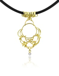 Orlando Orlandini Scintille Diamond Drop 18K Yellow Gold Pendant Necklace