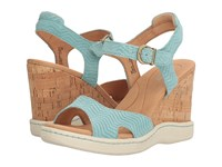 Born Puno Turquoise Suede Women's Wedge Shoes Blue