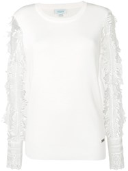 Jovonna Embroidered Sleeve Top White