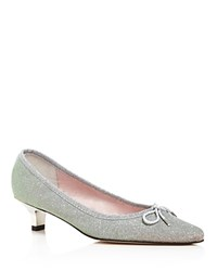 Paul Mayer Royal Riviera Low Heel Pointed Toe Pumps Silver