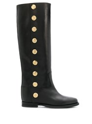 Via Roma 15 Knee High Buttoned Boots Black