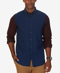Nautica Men's Slim Fit Helmsman Colorblocked Shirt Estate Blue