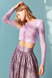 Out From Under Party Mesh Long Sleeve Top Lavender