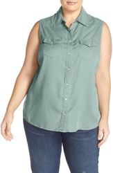 Plus Size Women's Foxcroft Sleeveless Snap Front Denim Shirt Powder Blue