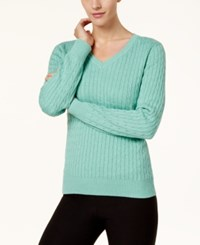 Karen Scott Cotton V Neck Cable Knit Sweater Created For Macy's Teal Aqua Heather