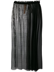 N 21 No21 Mesh And Chiffon Panelled Skirt Black