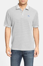 Tommy Bahama Men's 'Emfielder' Stripe Pique Polo Silver Grey Heather