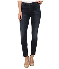 7 For All Mankind The Crop Skinny Jean In Whiskered Medium Dark Whiskered Medium Dark Women's Jeans Blue