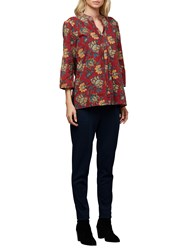 East Anokhi Shirin Pintuck Top Red Multi