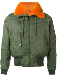 Liska Fur Trim Bomber Jacket Green
