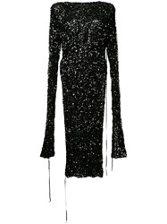 Ports 1961 Sequinned Slit Sleeve Dress Black