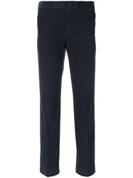 Pt01 Tailored Fitted Trousers Cotton Spandex Elastane Blue