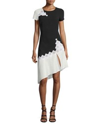 Jonathan Simkhai Diamond Mesh Short Sleeve Tee Dress Black White Black White
