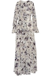 Mikael Aghal Ruffled Floral Print Chiffon Gown Multi