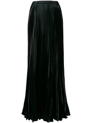 Saint Laurent Pleated Long Skirt Black