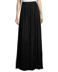 J. Mendel Classic Pleated Silk Maxi Skirt Black