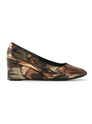 Biba Vintage Brocade Wedge Pumps Metallic