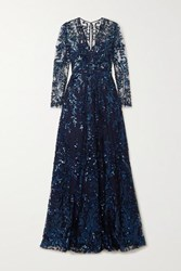 Naeem Khan Sequined Tulle Gown Navy