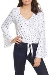 Love Fire Tie Front Bell Sleeve Blouse White Black Heart