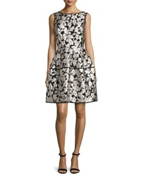 Oscar De La Renta Sleeveless Floral Gazar Fil Coupe Dress Silver Black Silver Black