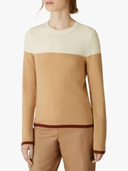 Jaeger Colour Block Wool Jumper Ivory