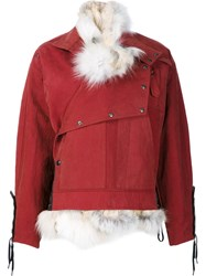 Anthony Vaccarello Lace Up Cuffs Detail Coat Red