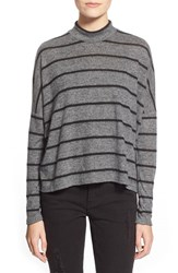 Junior Women's Soprano 'Cozy' Stripe Mock Neck Tee Charcoal Grey Black