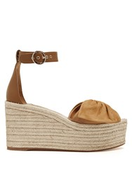 Valentino Tropical Bow Suede Wedge Sandals Tan